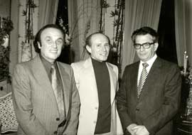 ...at a reception after the premiere of Rotations with conductor Gary Bertini and Yissakhar Ben-Yaacov (Israel Rotary Club), 1979.